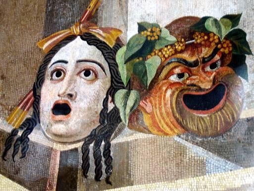 Mosaico en el que pueden observarse dos gárgolas con aspecto de máscaras de la Tragedia y la Comedia. (Wikimedia Commons)
