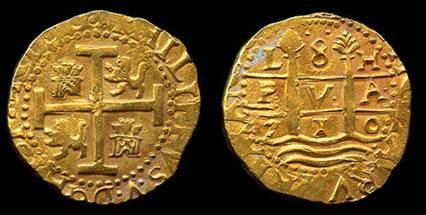 8-Escudos-Lima-Monedas de la Flota de 1715 recuperadas anteriormente (Wikimedia Commons)