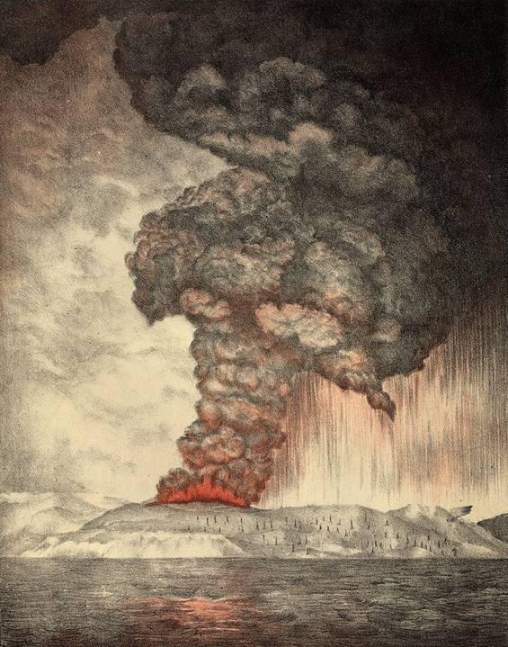 Litografía de 1888 en la que se ilustra la erupción del Krakatoa de 1883
