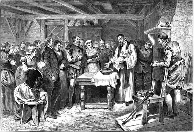 """""""El Bautismo de Virginia Dare"""" es un grabado de 1876 obra de William A. Crafts que representa el bautizo del primer niño inglés nacido en Norteamérica, concretamente en Roanoke. El destino de Virginia Dare y el resto de los colonos de Roanoke sigue siendo un misterio a día de hoy. (Wikipedia)"""