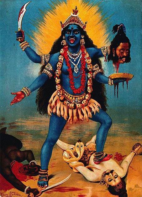 La diosa hindú Kali, diosa del tiempo, la creación, la destrucción y el poder, es adorada por los hindúes de todo el mundo. (Raja Ravi Varma / Dominio público)