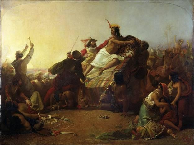 """""""Pizarro apoderándose de los Incas del Perú"""", cuadro de John Everett Millais en el que podemos ver a Pizarro capturando al rey inca Atahualpa. Public Domain"""