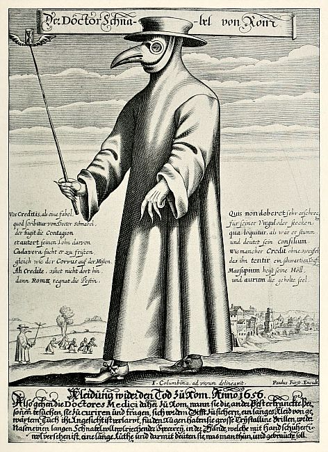 Ilustración que muestra la forma en que los médicos medievales se protegían para tratar a los enfermos afectados por la peste. (Wikimedia Commons)