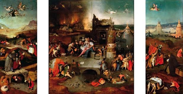 'La Tentación de San Antonio' de Jerónimo el Bosco, cuya obra se ha comparado con los escritos de Teófilo Folengo. Para hacerse una idea más aproximada de lo extravagante de esta pintura, véase la imagen de Wikimedia Commons en alta resolución.