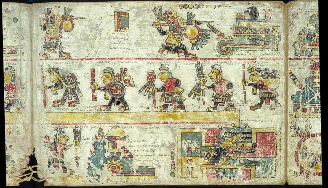 Imagen del Códice Colombino del siglo XII perteneciente a la Cultura Mixteca mostrando las hazañas militares y políticas del siglo XI protagonizadas por el Señor 8-Ciervo, alias Garra del Tigre y el gobernante 4-Viento