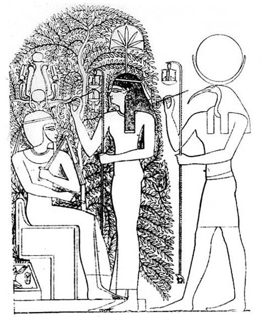 El nombre del nuevo faraón está escrito en las hojas del árbol sagrado Ished de Heliópolis por los dioses Seshat y Thoth durante la coronación del Ramasseum, templo mortuorio de Ramsés II. (Dominio público)