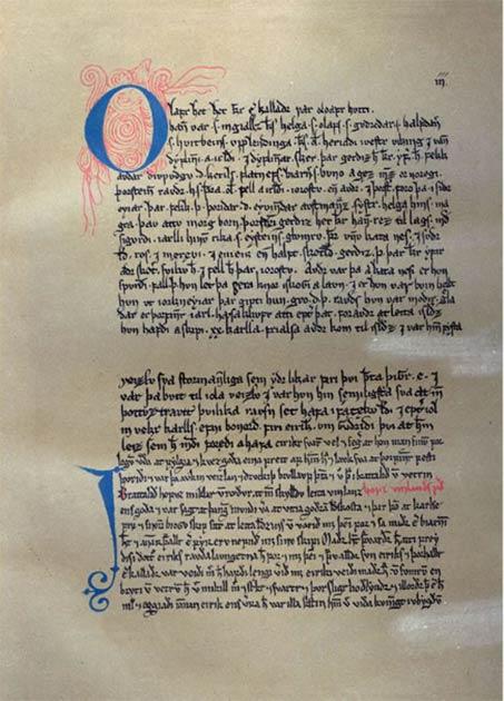 Los viajes de los nórdicos a Vinland se registraron en la tradición oral. Estos fueron finalmente escritos siglos después, en la Saga de Eric el Rojo (que se ve en la imagen de arriba) y la Saga de los groenlandeses. (Dominio público)