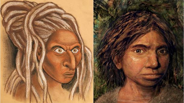 La cara reconstruida de un Denisovan siberiano (izquierda) junto con la representación propia de la Universidad Hebrea de un Siso Denisovan (derecha). (Créditos de las imágenes: izquierda, © Hernández / Cartwright / Collins; derecha, © Maayan-Harel)