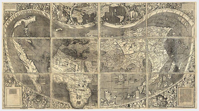 El Mapa Mundi Universalis Cosmographia, 1507; obra del cartógrafo alemán Martin Waldseemüller (Wikimedia Commons)