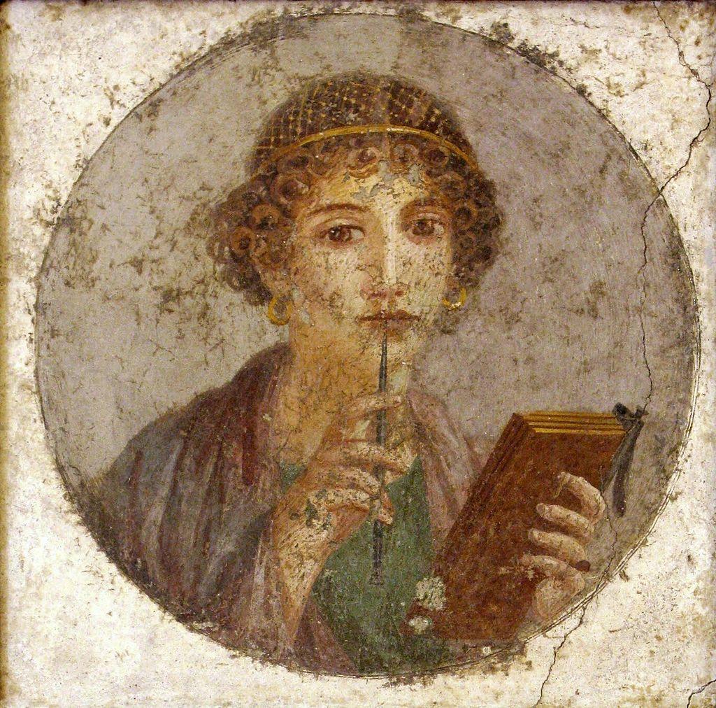 Retrato de Safo procedente de Pompeya, c. 50 d. C., una famosa poetisa de la antigua Roma autora de poemas acerca de la belleza. (Wikimedia Commons)