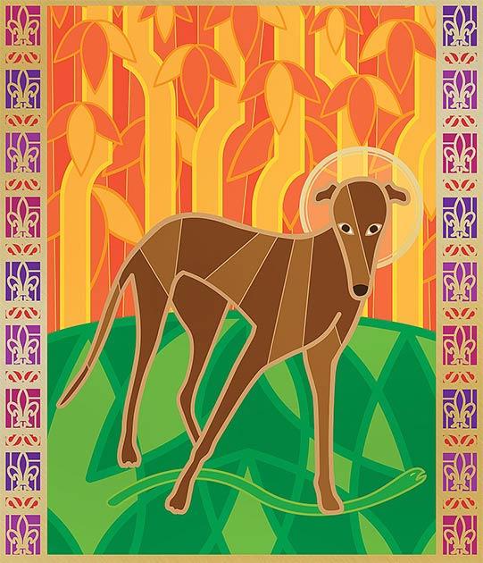 Ilustración de San Guinefort, un galgo que se convirtió en santo en el siglo XIII después de salvar a un niño de una serpiente. (L. Bower / CC0)