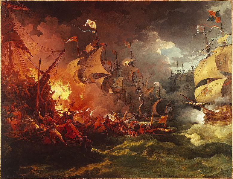 Derrota de la Armada Invencible, 8 de Agosto de 1588 por Philip James de Loutherbourg (Wikimedia Commons)