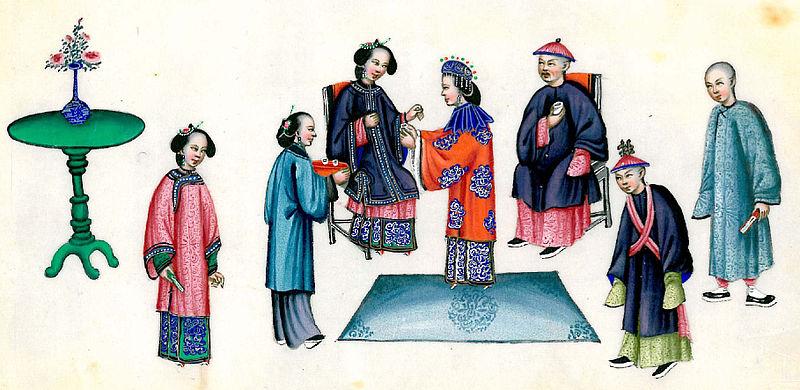 Escena de una boda en la época de la dinastía Qing, en China (Wikimedia Commons)