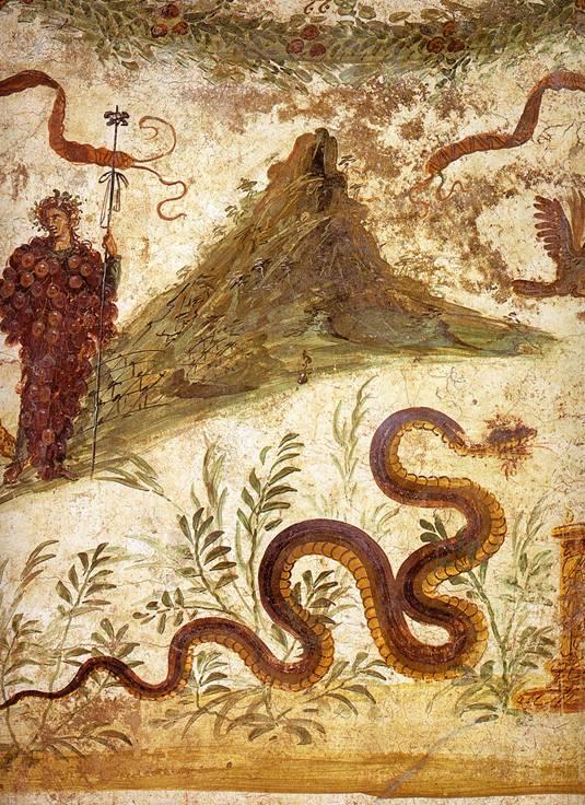 Fresco de Baco y Agatodemon con el Vesubio al fondo. Nótese la imaginería de la serpiente (Public Domain)