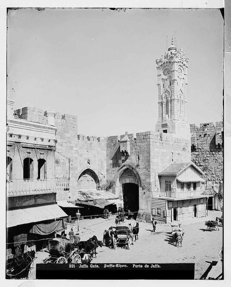 Torre del reloj en la puerta de Jaffa, (1908-1918)