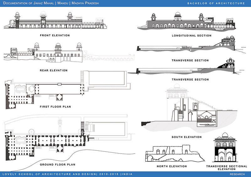 Planos arquitectónicos del Jahaz Mahal de Mandu, en la India (Wikimedia Commons)