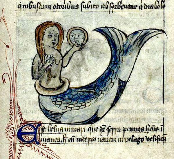 Ilustración de sirena con espejo y peine. Inglaterra, siglo XV (Flickr)
