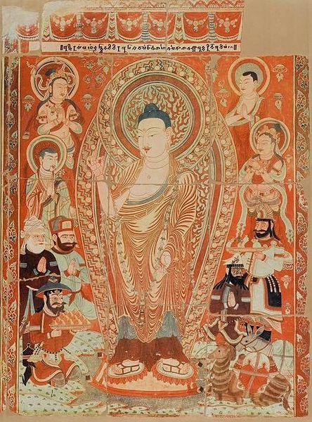 Escena Praṇidhi del Templo Número 9, (siglo IX) Cuevas de Bezeklik , Valle de Mutou, China. (Wikimedia Commons)