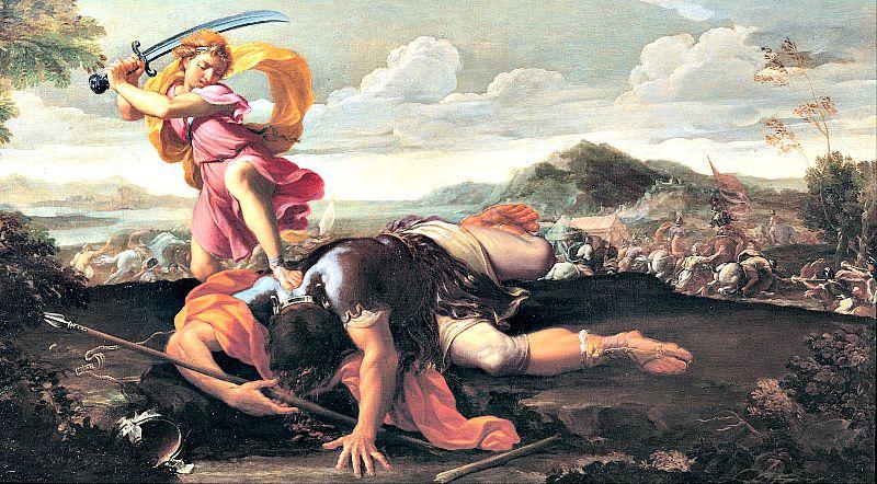 Goliat, el gigante filisteo vencido por David, era refaíta: uno de los pueblosde origen Nefilim. Óleo sobre lienzo de Guillaume Courtois (1650 - 1660). (Wikimedia Commons)