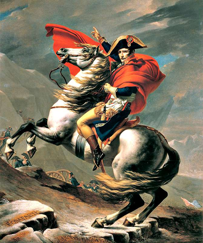 Napoleón cruzando los Alpes, obra de Jacques-Louis David. (Wikimedia Commons)