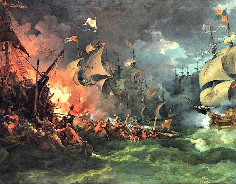 Derrota de la Armada Invencible, pintura de Philippe-Jacques de Loutherbourg (1796). (Wikimedia Commons)