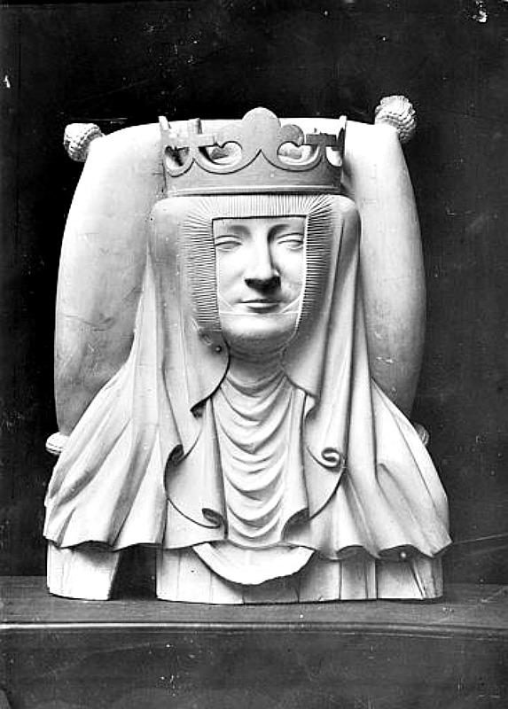 Molde de yeso del mausoleo de la reina Isabel de Baviera, consorte del monarca Carlos VI de Francia y mecenas de Christine de Pisan. Basílica Real de Saint-Denis, Île-de-France. (Public Domain)