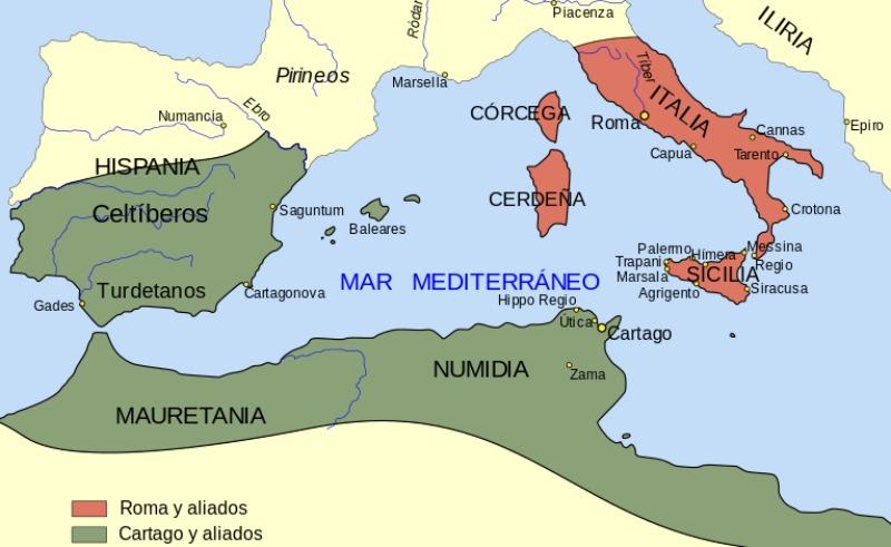 Situación geográfica y política de Cartagonova antes de la segunda Guerra Púnica. (Jarke/CC BY-SA 3.0)