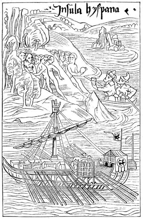 """Colón desembarca en Guanahaní. Esta ilustración, al parecer contemporánea a la época del Descubrimiento, aparece en el libro """"Bibliothek des allgemeinen und praktischen Wissens"""" de Emanuel Müller-Baden, en su edición de 1904 (Public Domain)"""