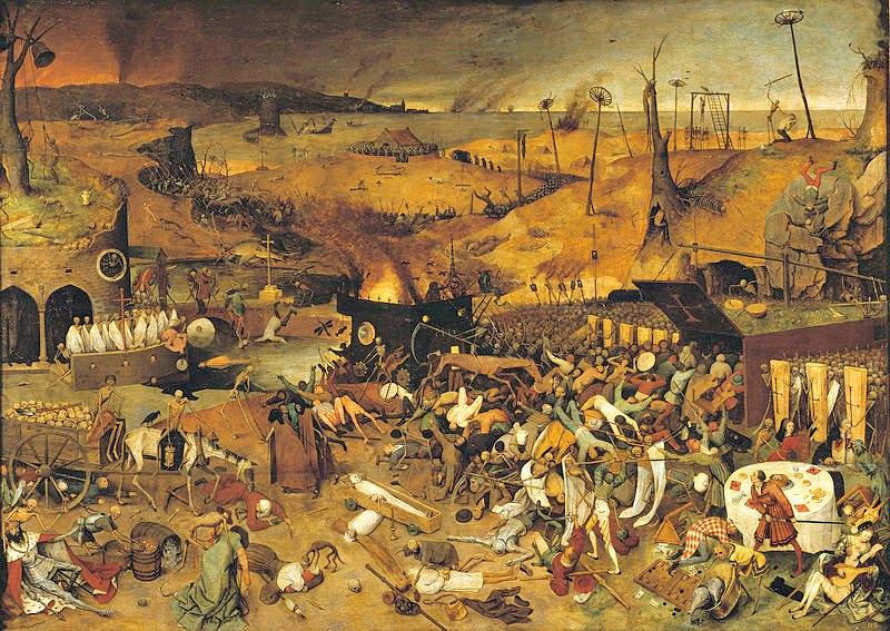Nostradamus alcanzó fama como médico en su lucha contra la peste logrando curaciones que se calificaron de milagrosas. El triunfo de la muerte, (c. 1562), de Pieter Brueghel el Viejo. Museo del Prado. (Public Domain)