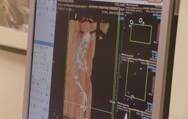 Imagen informática que muestra los restos del feto en el interior de la tumba de Peder Winstrup (YouTube Screengrab/Univ. Lund)