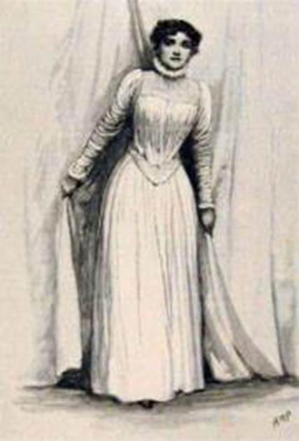"""Una ilustración de HM Paget que muestra a Florence Farr como Rebecca West en """"Rosmersholm"""" de Henrik Ibsen. Crédito: dominio público."""