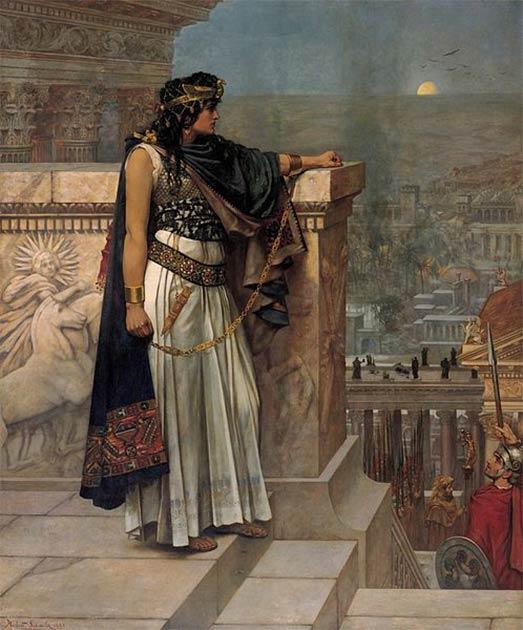 La última mirada de la reina Zenobia a Palmyra (1888) de Herbert Gustave Schmalz. (Dominio público)