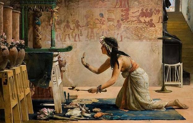 Ofrendas a un Gato Egipcio' por John Reinhard Weguelin, 1886-Sacerdotisa-ofrece-leche-y-alimento-a-espiritu-de-gato-fallecido