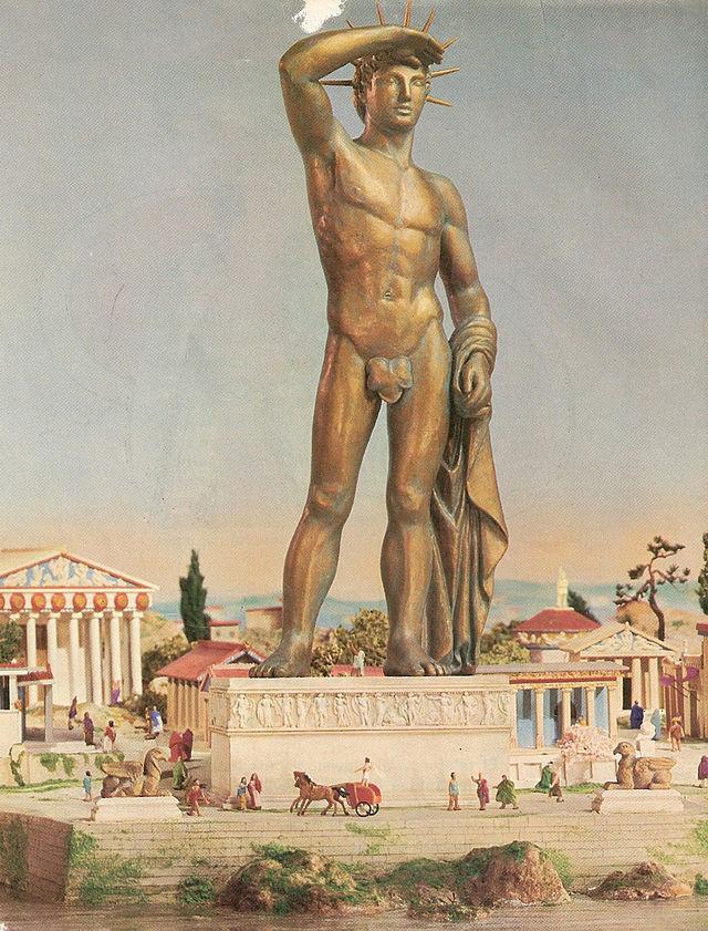 El Coloso de Rodas y su posible postura y apariencia. Wikimedia Commons