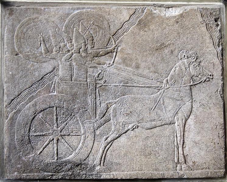 Campaña-Asurbanipal-contra-Elamitas-Bajorrelieve asirio de Nínive en alabastro, en torno al 650 a. C. Wikimedia Commons