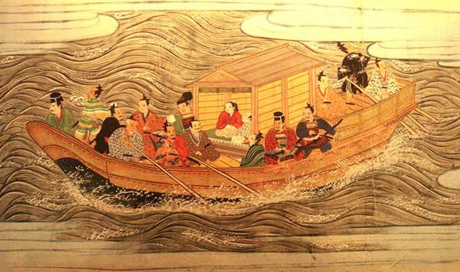 Embarcación del período Muromachi, en la que viajan samurais; (Wikipedia Commons)