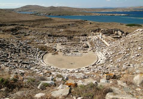Antiguo teatro griego de Delos (Wikimedia Commons)