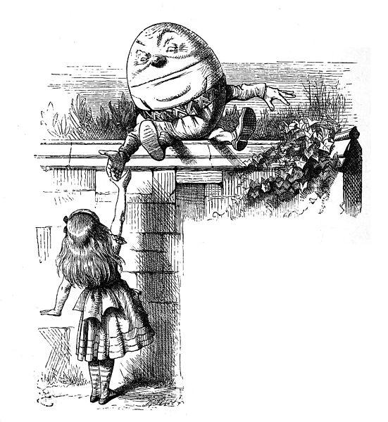 Humpty Dumpty y Alicia, ilustración de A Través del Espejo, J. Tenniel (Wikimedia Commons)