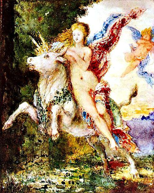 Europa y el toro. Acuarela de Gustave Moreau (Wikimedia Commons)