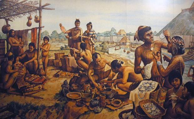 El pueblo Cahokia. Ilustración del Cahokia Mounds State Historic Site (Sede Histórica Estatal de los Túmulos de Cahokia) (emilydickinsonridesabmx / flickr)