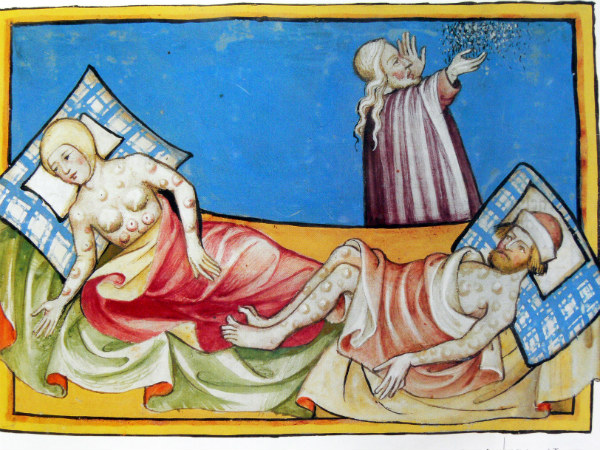 La formación de bubones es uno de los síntomas principales de la peste bubónica. Ilustración de la Biblia de Toggenburg (1411) (Wikimedia Commons)
