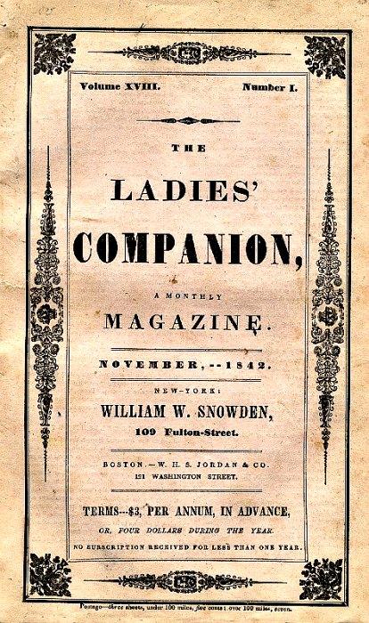 """Ejemplar de la publicación """"Ladies Companion"""", correspondiente a noviembre del año 1842, en el que Poe publicó una de las tres entregas de su relato sobre el asesinato de Mary. (Wikimedia Commons)"""