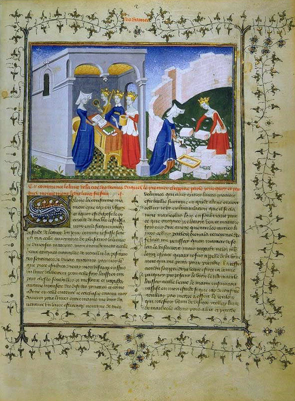 """""""La cité des dames"""" (""""La ciudad de las damas"""") es la obra más importante de Christine de Pisan. En la imagen una de las primeras páginas de la edición de 1405 de este Manuscrito. Biblioteca Nacional Francesa (Cea+/Flickr)"""