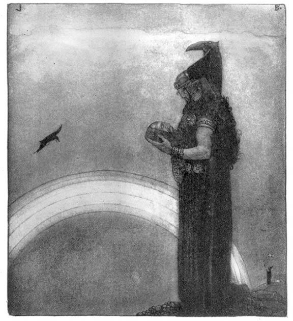 Odin habla con la cabeza de Mimir por última vez. (John Bauer)