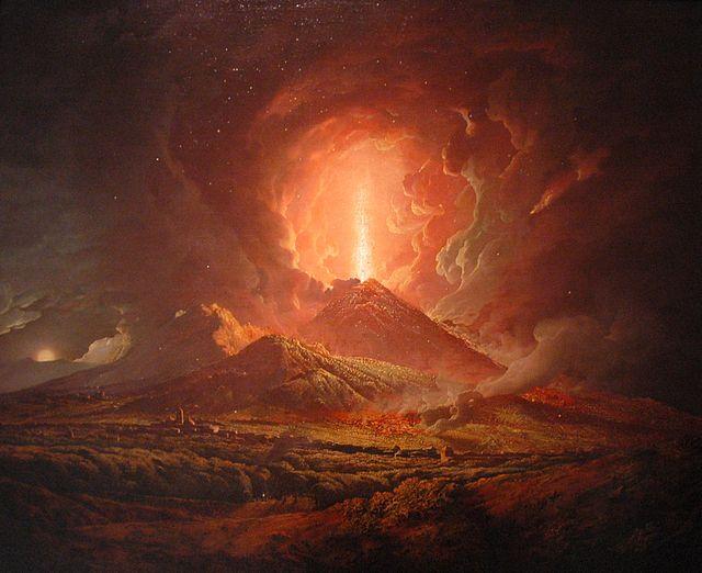 Erupción del Vesubio vista desde Portici, por Joseph Wright (ca. 1774-6). Public Domain