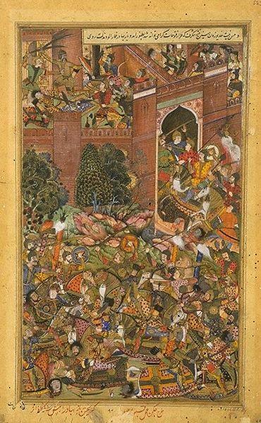 La Derrota de Baz Bahdur por las Tropas Mogolas (1590-1595), obra de Kabu Jagan (Wikimedia Commons)