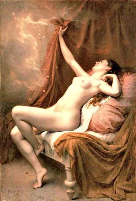 Dánae recibiendo la lluvia de oro. Alexandre Jacques Chantron. (Wikimedia Commons)