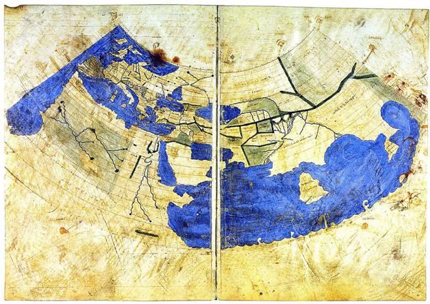 Mapamundi bizantino basado en la primera proyección (cónica) de Ptolomeo, circa 1300. La Península de Oro se puede observar en el extremo más oriental, justo antes de llegar al Gran Golfo. Public Domain