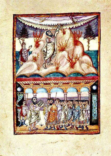 Moisés recibe la Ley en el Monte Sinaí y la transmite a los hebreos. Biblia de Grandval, manuscrito carolingio, c. 840 E.C. Museo Británico, Londres. (Wikimedia Commons)