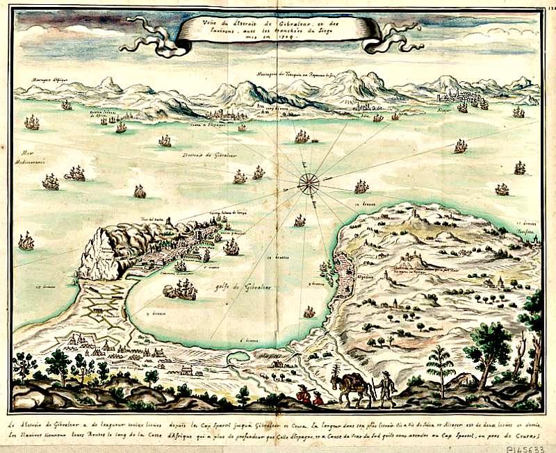 El Estrecho de Gibraltar y sus alrededores con sus defensas tal y como estaban emplazadas en 1704, por Louis Boudan. Biblioteca Nacional de Francia (Wikimedia Commons)
